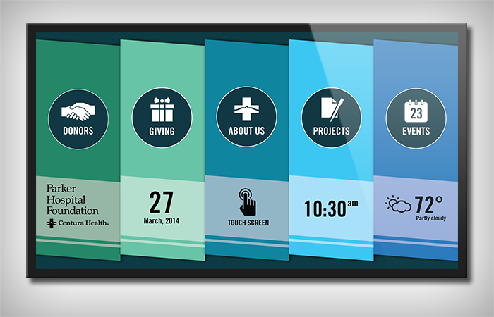 App suite designed for the donor wall at the Denver area hospital.